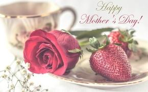 Картинка роза, клубника, День матери