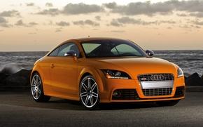 Картинка море, закат, оранжевый, Audi