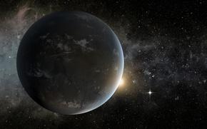 Картинка звезда, туманности, экзопланета, планетная система, лира, сверхземля, кеплер-62, оранжевый карлик