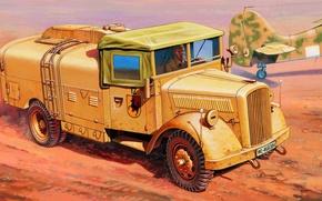 Картинка war, art, painting, Kfz. 385 Tankwagen