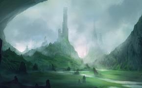 Картинка пейзаж, туман, река, камни, арт, башни, ущелье, blinck