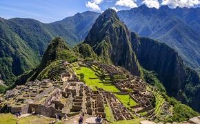 Картинка небо, горы, город, Перу, Мачу-Пикчу, machu picchu, инки