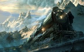 Обои дорога, горы, паровоз, локомотив, железная