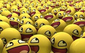 Обои желтый, шары, смайлы