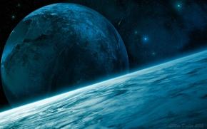 Картинка звезды, поверхность, планеты, кратер