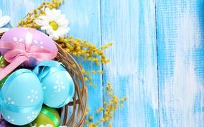 Картинка цветы, дерево, ромашки, яйца, весна, пасха, пастель, blue, flowers, spring, eggs, easter, delicate, daisy, camomile, …