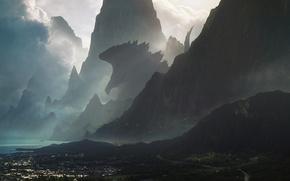 Картинка горы, город, фантастика, скалы, монстр, гигант, hawaii, godzilla
