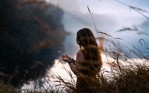 Картинка девушка, река, свеча, утро, Lizzy Gadd, Lightkeeper