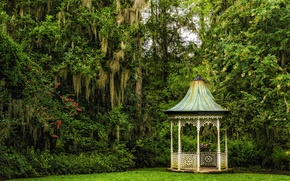 Картинка деревья, Южная Каролина, беседка, Charleston, South Carolina, Magnolia Gardens, Чарлстон, Сады магнолий