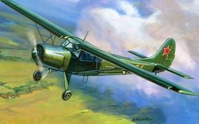 Картинка самолет, легкий, арт, ВВС, многоцелевой, транспортный, Як-12, СССР.