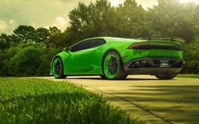Картинка Lamborghini, Green, Color, Supercar, Wheels, Rear, ADV.1, Huracan, LP610-4