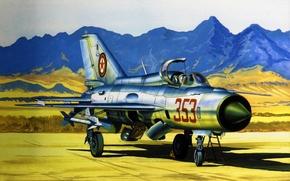 Картинка art, painting, aviation, jet, MiG-21 Fishbed