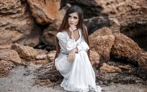 Картинка взгляд, девушка, поза, настроение, платье, рыжая, white, красивая, ожидание, сидит, fashion, beauty, длинноволосая, Дмитрий Перерва, …