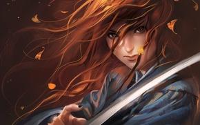 Картинка листья, девушка, меч, катана, арт, самурай, рыжая, sakimichan, Red Haired Samurai