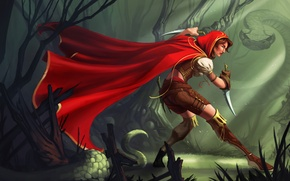 Картинка лес, девушка, красный, оружие, змея, арт, капюшон, плащ