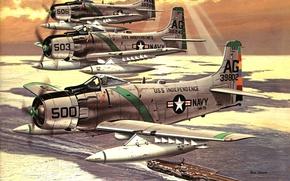 """Картинка море, небо, рисунок, арт, самолёты, авианосец """"USS Independence"""""""