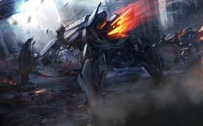 Картинка оружие, фантастика, огонь, роботы, арт, разрушение, развалины