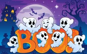 Картинка Хэллоуин, летучие мыши, halloween, bats, full moon, полная луна, векторной графики, жуткий дом, funny ghosts, …