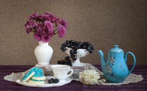 Обои цветы, натюрморт, виноград, хризантемы, печенье, кофе