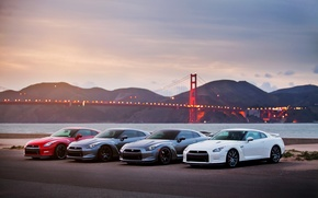 Обои море, небо, мост, огни, вечер, GTR, золотые ворота, Nissan, ниссан, R35, гтр, р35, сан-фрациско