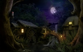 Картинка лес, ночь, мост, дом, водопад