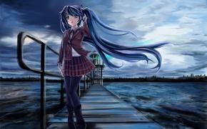 Картинка холод, море, девушка, мост, мрак, маяк, vocaloid, hatsune miku, школьная форма, вокалоид, art, edogawakid
