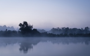Картинка пейзаж, ночь, туман, река