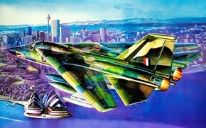 Картинка art, airplane, painting, jet, F-111C Aardvark