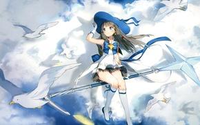 Картинка небо, облака, полет, магия, чайки, шляпа, перчатки, гольфы, бант, жезл, art, Houkago no Pleiades, Внеклассные …