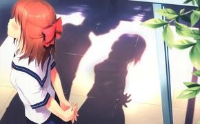 Картинка улица, Девушка, тень, поцелуй, форма, бант