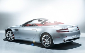 Обои Vantage, белый, родстер, сияние, Aston Martin