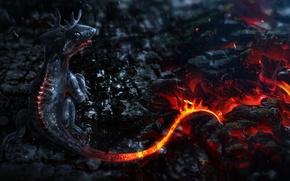Картинка огонь, вулкан, fire, fantasy, дракончик, volcano, little dragon