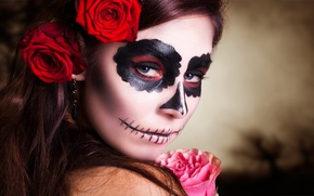 Картинка pink, look, makeup, day of the dead