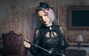 Картинка девушка, макияж, шляпка, Charlotte, Steam Punk