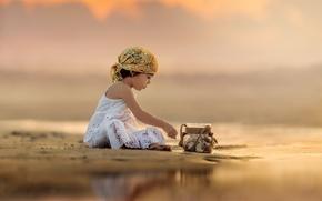 Картинка закат, река, девочка