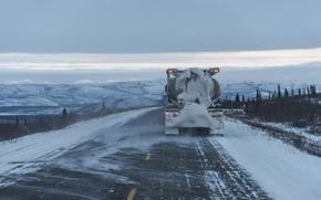 Обои грузовик, дорога, снег, зима