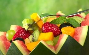 Картинка ягоды, арбуз, киви, клубника, фрукты, фруктовый салат