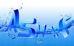 Картинка logo, typography, sea, design, text, blue, water, drops