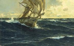 Картинка море, волны, корабль, паруса, маринист, michael zeno diemer