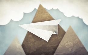 Картинка небо, облака, горы, минимализм, бумажный самолет