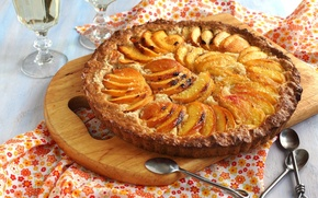 Картинка выпечка, еда, десерт, сдоба, персики, ложки, пирог