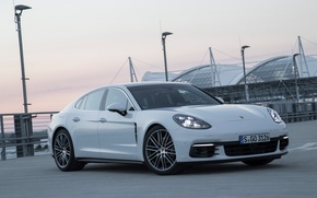 Обои свет, фары, автомобиль, Panamera, порше, панамера, передок, Porsche
