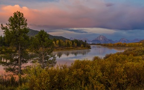Картинка Wyoming, горы, Grand Teton, деревья, кусты, берег, осень, закат, река, лес, США