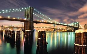 Картинка снег, ночь, мост, огни, Bridge, Brooklyn, Night, NYC, Snow, After