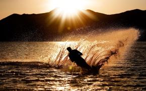 Картинка море, волны, вода, солнце, закат, брызги, фон, океан, спорт, силуэт, мужчина, парень, широкоформатные, полноэкранные, HD ...