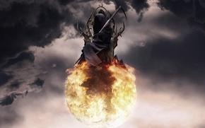 Картинка небо, тучи, смерть, огонь, шар, арт, коса, сфера, трон