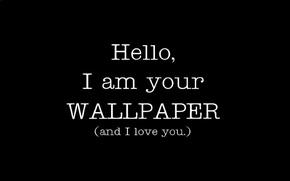 Обои минимализм, i love u, wallpaper, чёрно-белая