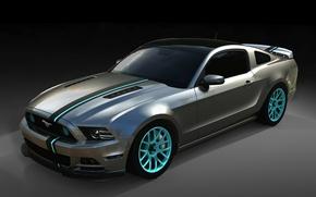 Картинка полосы, фон, тюнинг, Mustang, Ford, Форд, Мустанг, диски, tuning, передок, Muscle car, Мускул кар, SEMA, …