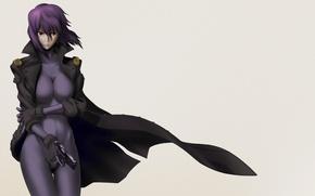 Картинка девушка, пистолет, оружие, фон, аниме, Ghost in the Shell, фиолетовые волосы, Motoko Kusanagi, Мотоко Кусанаги, …