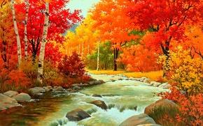 Картинка лес, вода, река, камни, листва, Осень, кусты
